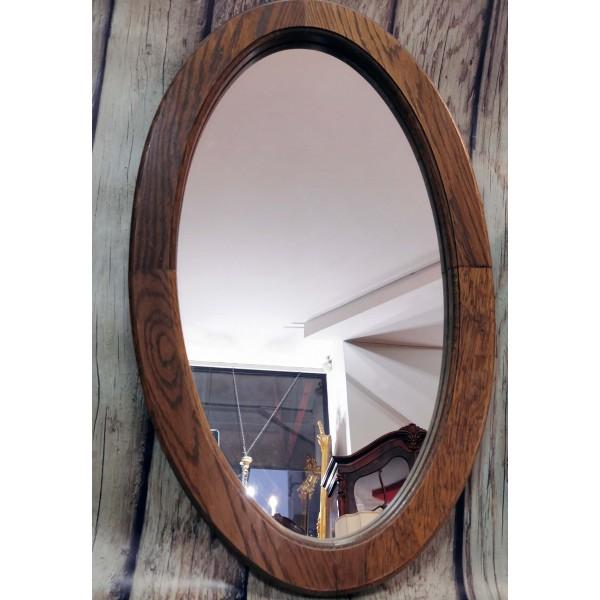 Овално огледало в дъбова рамка
