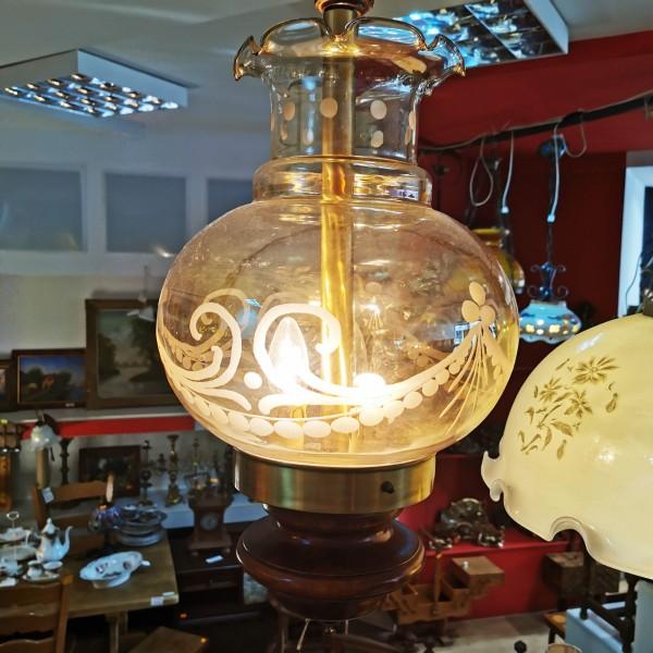 Старинен полилей от опушено стъкло с орнаменти