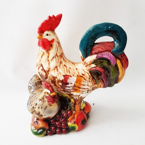Керамичен петел с кокошка