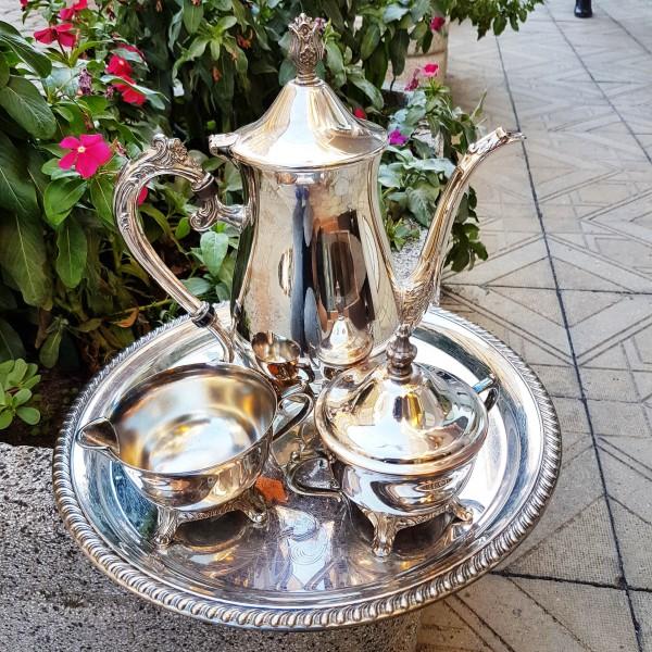 Комплект посребрени съдинка за чай