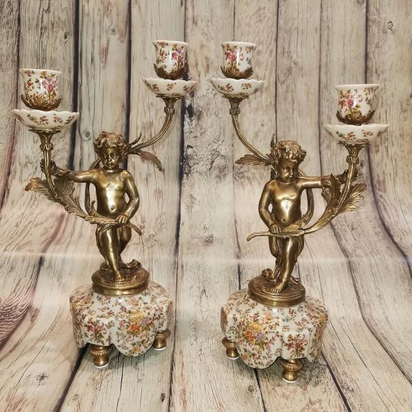 Свещници ангели от порцелан и бронз