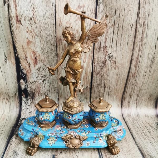 Мастилница от порцелан и бронз в синьо